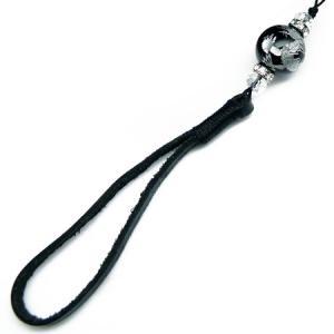 chst11 銀 龍ストラップ オニキス 18mm超大玉 悪羅悪羅本革タイプ 黒 ブラック バ|swan-hoseki