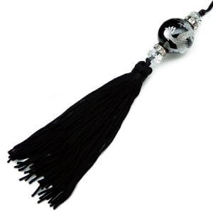 chst3 銀 龍ストラップ オニキス 18mm超大玉 悪羅悪羅 付房タイプ ブラック 黒|swan-hoseki