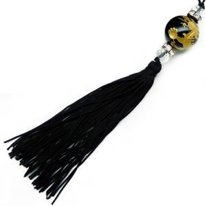 chst4 金 龍ストラップ オニキス 18mm超大玉 悪羅悪羅 付房タイプ ブラック 黒|swan-hoseki