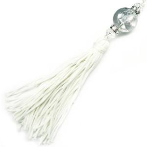 chst6 銀 龍ストラップ 水晶 18mm超大玉 悪羅悪羅 付房タイプ クリア|swan-hoseki