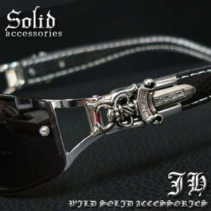 cs54 ブラックフェイスレザー ダガーサングラス 3266|swan-hoseki