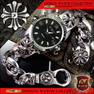 ブレスレット 腕時計 メンズ 時計 ブレス ウォッチ ブランド おしゃれ クロス 十字架 シルバー cr 黒 ブラック クロノグラフ デザイン ct118|swan-hoseki
