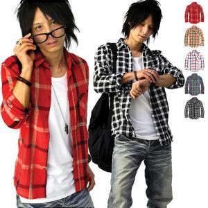 チェックシャツ メンズ 長袖シャツ チェック柄 シャツ ネル...