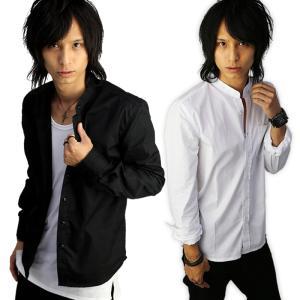 メンズYシャツ スリム 襟なし バンドカラー ノーカラー ワイシャツ ビジネスシャツ 長袖 無地 シャツ無地 シンプル カットソー メンズファッション f140-f143|swan-hoseki