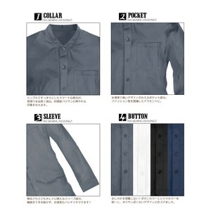 メンズYシャツ スリム 襟なし バンドカラー ノーカラー ワイシャツ ビジネスシャツ 長袖 無地 シャツ無地 シンプル カットソー メンズファッション f140-f143|swan-hoseki|05