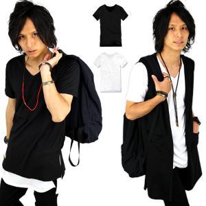 Tシャツ メンズ Vネック ロング丈 半袖 無地 インナー カットソー メンズファッション  f710-711|swan-hoseki