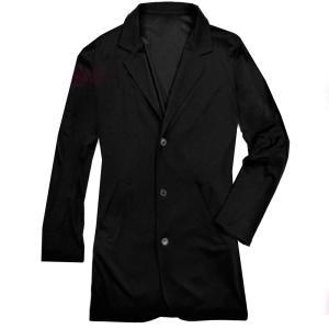 テーラードジャケット ロング丈 メンズ ジャケット キレイめ ビジネス カジュアル 無地 アウター ブラック 黒 f580|swan-hoseki