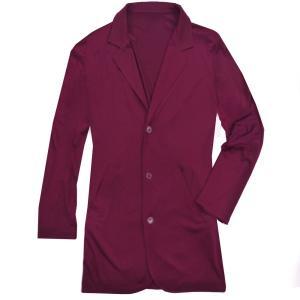 テーラードジャケット ロング丈 メンズ ジャケット キレイめ ビジネス カジュアル 無地 アウター ダークパープル 濃紫色 f582|swan-hoseki