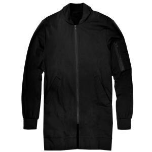 MA-1 MA1ジャケット ロング丈 レディース ジャケット 無地 ミリタリージャケット カジュアル ブラック 黒 f600