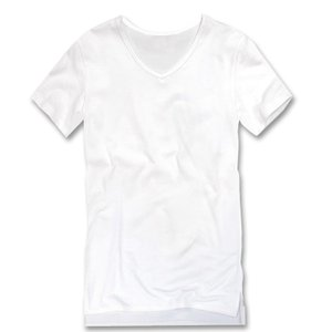 Tシャツ メンズ Vネック ロング丈 半袖 無地 インナー カットソー メンズファッション ホワイト...
