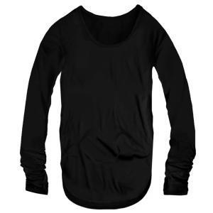 指穴付き Uネック メンズ ロング丈 長袖 Tシャツ 無地 ロンT カットソー トップス メンズファッション ブラック 黒 f790|swan-hoseki