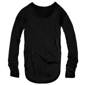 指穴付き Uネック レディース ロング丈 長袖 Tシャツ 無地 ロンT カットソー トップス レディースファッション ブラック 黒 f790 swan-hoseki
