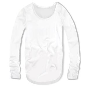 指穴付き Uネック メンズ ロング丈 長袖 Tシャツ 無地 ロンT カットソー トップス メンズファッション ホワイト 白 f791|swan-hoseki