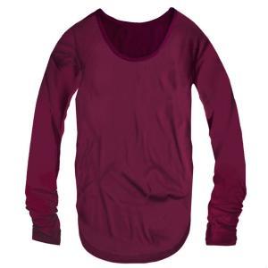指穴付き Uネック レディース ロング丈 長袖 Tシャツ 無地 ロンT カットソー トップス レディースファッション ダークパープル 濃紫色 f794 swan-hoseki