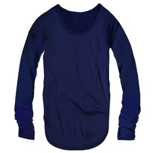 指穴付き Uネック レディース ロング丈 長袖 Tシャツ 無地 ロンT カットソー トップス レディースファッション ネイビー 紺色 f796 swan-hoseki