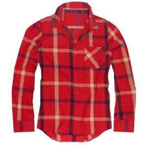チェックシャツ メンズ 長袖シャツ チェック柄 レッド 赤 ...