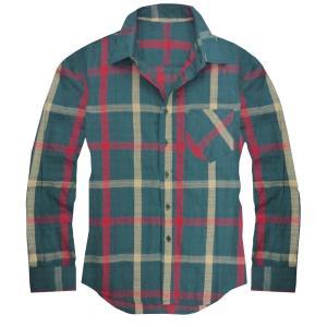 チェックシャツ メンズ 長袖シャツ チェック柄 グリーン 緑...