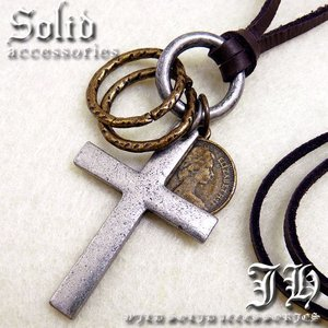 key24 アンティーク クロス十字架 リング コイン ネックレス登場本革 革ひも 皮 革紐 レザー バ おしゃれ|swan-hoseki