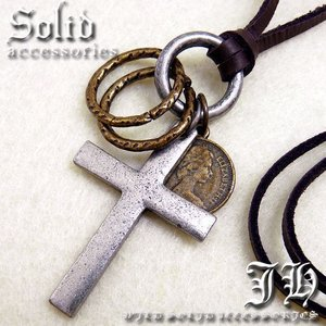 key24 アンティーク クロス十字架 リング コイン ネックレス登場本革 革ひも 皮 革紐 レザー|swan-hoseki