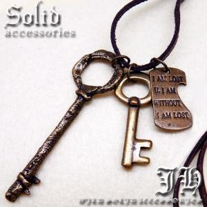 key4 アンティーク キー鍵 文字プレート ネックレス登場本革 革ひも 皮 革紐 レザー|swan-hoseki