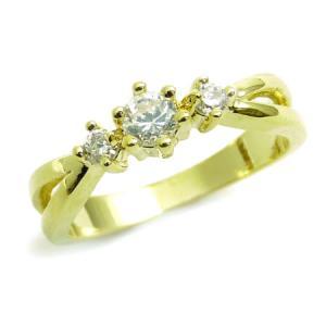 kor181 3号5号7号 3連煌きGlass輝く超可愛いピンキーリング 高級プラチナRG加工 パーティーや結婚式やプレゼントにも|swan-hoseki