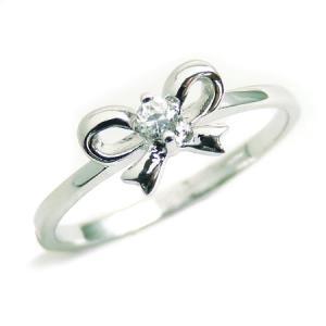 kor226 3号5号7号 輝く煌きGlass 超可愛いリボン型ピンキーリング 高級プラチナRG加工 パーティーや結婚式、プレゼントにも 煌きGlass|swan-hoseki
