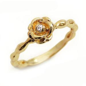 kor229 3号7号 超可愛いローズ型ピンキーリング 高級プラチナRG加工 パーティーや結婚式やプレゼントにも 薔薇 煌きGlass ゴールド|swan-hoseki