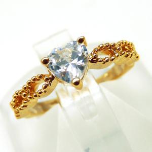 輝く煌きカットGlass シンプルなピンキーリング 高級プラチナRG加工 パーティーや結婚式、プレゼントにも ゴールドkor281|swan-hoseki