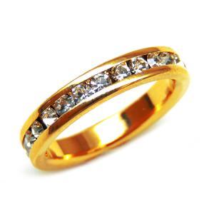 輝く煌きカットGlass かわいいピンキーリング 高級プラチナRG加工 パーティー 結婚式 プレゼントにも ゴールド kor293|swan-hoseki