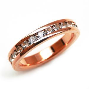 輝く煌きカットGlass かわいいピンキーリング 高級プラチナRG加工 パーティー 結婚式 プレゼントにも ピンクゴールド  kor294|swan-hoseki