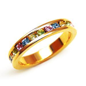 輝くカラフル煌きカットGlass かわいいピンキーリング 高級プラチナRG加工 パーティー 結婚式 プレゼントにも ゴールド kor296|swan-hoseki