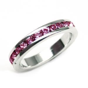 輝くピンクの煌きカットGlass かわいいピンキーリング 高級プラチナRG加工 パーティー 結婚式 プレゼントにも kor298|swan-hoseki