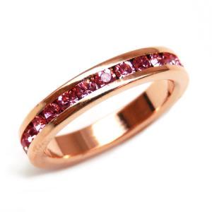 輝くピンクの煌きカットGlass かわいいピンキーリング 高級プラチナRG加工 パーティー 結婚式 プレゼントにも ピンクゴールド kor299|swan-hoseki