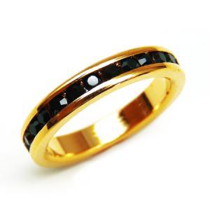 輝くブラックの煌きカットGlass かわいいピンキーリング 高級プラチナRG加工 パーティー 結婚式 プレゼントにも ゴールド kor301|swan-hoseki