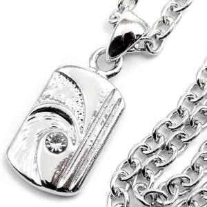 今だけ180円 最強アクセ誕生 煌きGlass入プレートネックレス プラチナsvRG加工 ペアでもおススメn530|swan-hoseki