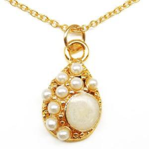 まるで本物 ティアドロップ型パール風ネックレス パーティーや結婚式、プレゼントにも レディース 真珠風 雫デザイン ゴールドn971|swan-hoseki