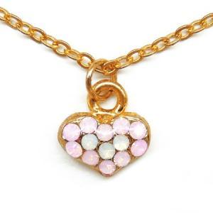 ハート型ネックレス パーティーや結婚式、プレゼントにも レディース パステルストーン ゴールド ピンク ホワイトn978|swan-hoseki