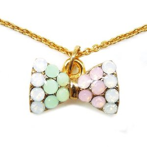リボン型ネックレス パーティーや結婚式、プレゼントにも レディース パステルストーン ゴールド ピンク ホワイトn981|swan-hoseki