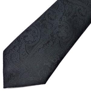 ネクタイ メンズ 幅 7cm ブラック 黒 ペイズリー ナロータイ ビジネス カジュアルne102|swan-hoseki
