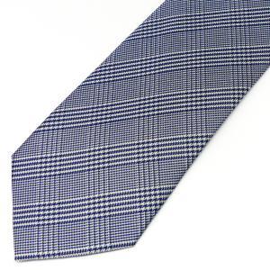 ネクタイ メンズ 幅 7cm ネイビー 紺 チェック ナロータイ ビジネス カジュアルne106|swan-hoseki