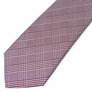 ネクタイ メンズ 幅 7cm レッド 赤 チェック ナロータイ ビジネス カジュアルne107|swan-hoseki