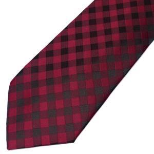 ネクタイ メンズ 幅 7cm レッド 赤 ギンガムチェック柄 ナロータイ ビジネス カジュアルne116|swan-hoseki