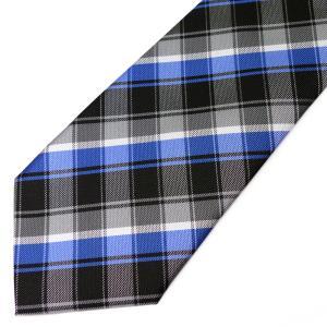ネクタイ メンズ 幅 7cm ブラック 黒 ブルー 青 ホワイト 白 チェック ナロータイ ビジネス カジュアル ne182|swan-hoseki