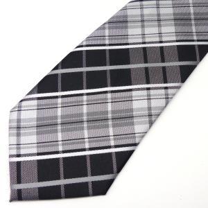 ネクタイ メンズ 幅 7cm ブラック 黒 ホワイト 白 チェック ナロータイ ビジネス カジュアル ne185|swan-hoseki