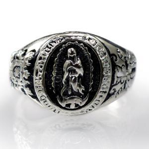 お一人様2点限り フリーサイズ 指輪 リング メンズ マリア マリア像 クロス 十字架 アクセサリー レディース シルバーcr サイズ調整 r357|swan-hoseki