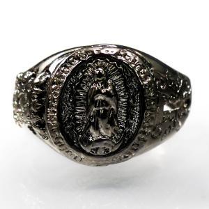 お一人様2点限り フリーサイズ 指輪 リング メンズ マリア マリア像 クロス 十字架 アクセサリー レディース シルバーcr サイズ調整 r358|swan-hoseki