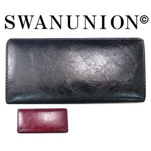 お洒落ウォレット ブラック黒ラウンドファスナー財布 フェイクレザー 長財布 プレゼント メンズ ラウンドジップ sai100|swan-hoseki