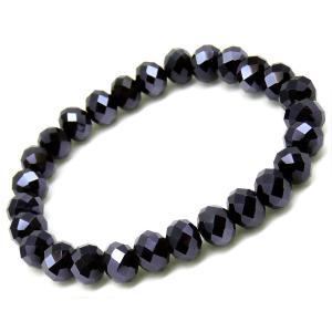 ten44 訳あり200円 超大玉ブルーブラック 多面煌きGlassカット 最速装着ブレスレット 在庫限り 青 黒|swan-hoseki