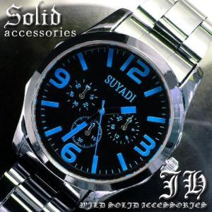 tvs12 送料無料 999円ポッキリ 超人気メンズ腕時計 スタイリッシュなデザイン ブルー青 メンズ|swan-hoseki
