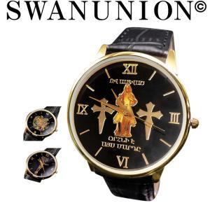 腕時計 メンズ おしゃれ 黒 アナログ シンプル カジュアル 黒 ブラック ゴールド cr マリア クロス エンブレム アナログ 時計 プレゼント|swan-hoseki